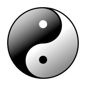 clip art clipart svg black and white sign symbol religion philosophy chinese traditional yin yang opposite forces interconnection daoist taoist 剪贴画 符号 标志 黑白 宗教