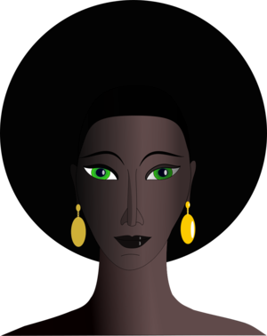 clip art clipart svg openclipart green black yellow woman lady 人物 cartoon female eye face hair afro haircut earrings 剪贴画 卡通 绿色 草绿 女人 女性 黑色 黄色 女士 头发 毛发