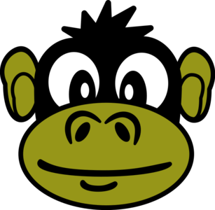 clip art clipart svg openclipart green black color 动物 animals cartoon monkey head funny zoo primate monkey head 剪贴画 颜色 卡通 绿色 草绿 黑色