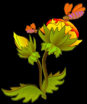 clip art clipart svg openclipart green red 花朵 nature yellow flying cartoon biology leaves purple stem bud bee honey bee on flower 剪贴画 卡通 绿色 草绿 红色 黄色 叶子 飞行 紫色
