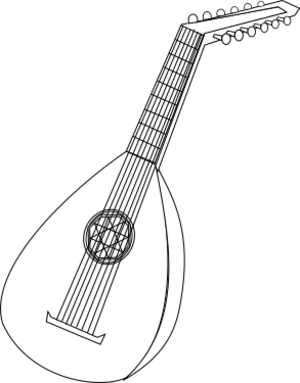 clip art clipart image svg openclipart black 音乐 play instrument orchestra clasical music string tune-up string intrument white lute 剪贴画 黑色 白色 乐器